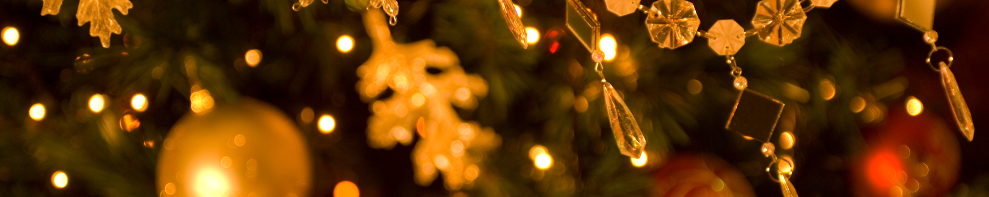 Gold and red ornaments on tree